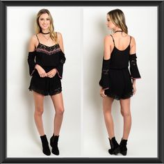 "Unique Sexy Boho Lace Beaded Romper SML All Sizes Turn heads in this Boho Chic & Edgy cold shoulder romper featuring crochet lace trim, beaded neckline, tassel tie & peasant bell sleeves. The smocked style elastic waistband and soft gauze like rayon fabric make this gorgeous romper super comfortable. Adjustable spaghetti straps. Length 33""  Shorts"