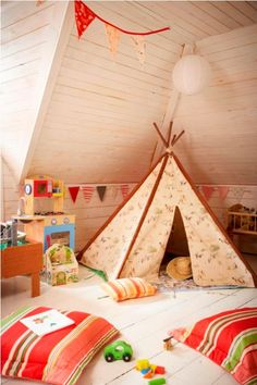Love the playroom teepee. I grew up building forts out of blankets, so a playroom teepee seems necessary. Deco Kids, Beautiful Soup, Deco Design, Design Design, Baby Kind, Nursery Design, Playroom Design, Attic Design, Interior Design