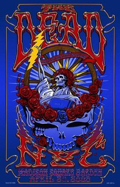 Original concert poster for The Dead in Chicago, IL at The Allstate Arena in 2009. 16.5 x 26.5 inches. Signed by the artist Richard Biffle.