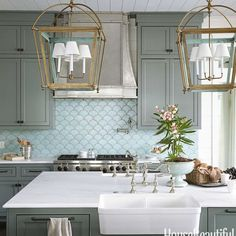 Fish Scale Tile Backsplash - Design photos, ideas and inspiration. Amazing gallery of interior design and decorating ideas of Fish Scale Tile Backsplash in dining rooms, bathrooms, kitchens by elite interior designers. Decor, Kitchen Remodel, Kitchen Design, Chic Kitchen, Ocean Inspiration, Beautiful Kitchens, Home Decor, Fish Scale Tile, Coastal Kitchen