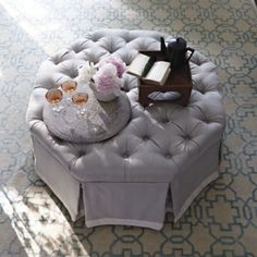 Samantha Storage Ottoman - love the idea of this to store blankets & pillows