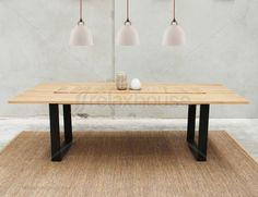 Steel leg table, European oak
