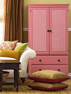 Cover armoire doors w fabric or paper