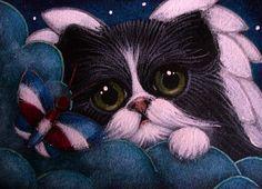 """""""Tuxedo Angel Cat with Butterfly in Heaven"""" par Cyra R. Cancel"""