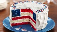 Red, White and Blue Layered Flag Cake  This is awesome!! This is definitely going to be one of my Fourth of July projects!!