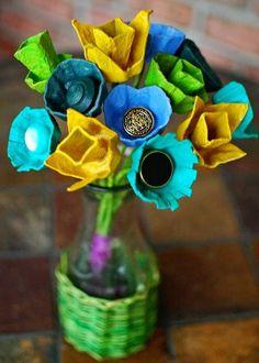 Flores recicladas ::: rejas de huevos