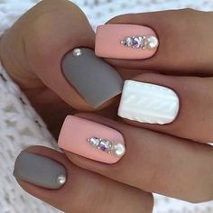 Accurate nails Festive nails Grey and pink nails Ideas of gentle nails Manicure 2018 Matte nails Nails trends 2018 Nails with rhinestones The post Accurate nails Festive nails Grey and pink nails Ideas of gentle nails Manic appeared first on Nageldesign. Square Acrylic Nails, Cute Acrylic Nails, Square Nails, Cute Nails, Gel Nails, Nail Polish, Nail Nail, Acrylic Spring Nails, Cute Spring Nails