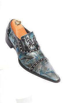 Zota Blue Black Leather European Design Party Trending Mens Pointed Toe Slip Ons