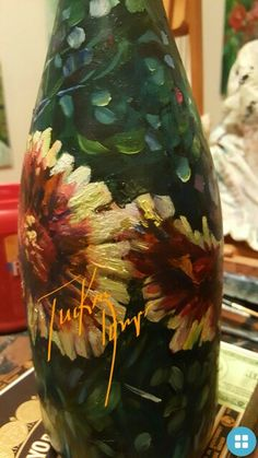 Impressionism by Impressionist FineArtist TuckerDemps.   Original oil on glass bottle.  #ForSale  Contact Artist to purchase.