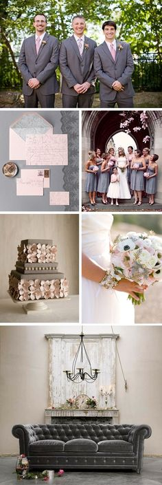 pink and grey weddings