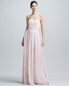 Strapless Watercolor-Print Gown by Erin by Erin Fetherston at Neiman Marcus.