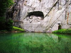 Been to Lucerne, need to go back to see this. The Lion Monument At Lucerne, Switzerland. Places Around The World, Oh The Places You'll Go, Places To Visit, Lion Monument, Top Places To Travel, Lucerne Switzerland, Switzerland Summer, Switzerland Vacation, Switzerland House
