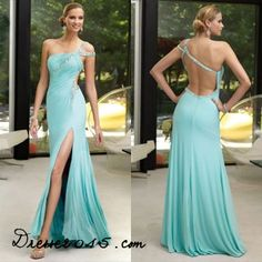 Sexy 2014 New One Shoulder Side Slit Mint Chiffon Floor Length Cheap Formal Evening Gowns Long Prom Dresses Size 2 4 6 8 10 12 Royal Blue Prom Dresses, Elegant Prom Dresses, Backless Prom Dresses, Cheap Prom Dresses, Bridesmaid Dresses, Formal Dresses, Matric Farewell Dresses, One Shoulder Prom Dress, Prom Dress 2014
