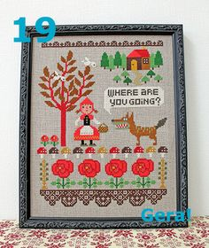 Cross stitch pattern Little Red Riding Hood Modern Cross Stitch, Cross Stitch Designs, Cross Stitch Patterns, Pattern Quotes, Wolf, Red Riding Hood, Learn To Crochet, Little Red, Yarn Crafts
