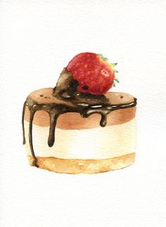 Strawberry and Chocolate Cake - ORIGINAL Painting (Desset Illustration, Still Life, Watercolour Food Wall Art) A5