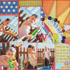 Use Bright Colors  Design by Betsy Veldman  The bright colors match the playful theme in Betsy's summer layout. She used multiple photos to capture her kids' antics. Machine stitching ties the page together.