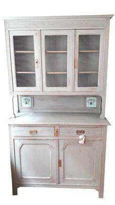 Küchenbuffet in grau, shabby chic schrank, antiker küchenschrank ...