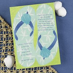 Flip Flop Party from Carlson Craft - Item Number: EA51RE - If you're going somewhere out in the sun make sure to choose this fun flip-flop bright white party invitation. Whether you're planning a wedding, couple shower or a backyard bash this invite will create a sun-filled good time.