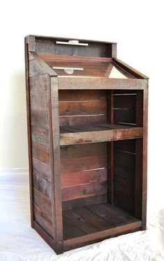 Hostess Stand made entirely from wine soaked oak staves from giant wine tanks - 100% Recycled