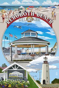 Rehoboth Beach, Delaware - Pavillion Montage - Lantern Press Artwork (Art Print Available) Bethany Beach De, Montage Art, Rehoboth Beach Delaware, Beach Posters, Beach Aesthetic, Cruise Travel, Travel Usa, Ocean City, Vintage Travel Posters