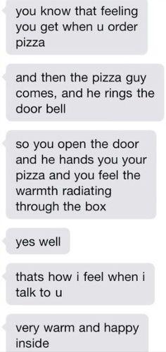 Cute texts. Pizza. Happy. Warm. Love. Couple.