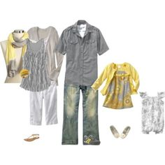 love the gray and yellow color scheme! Of course, we would not be needing the girl baby outfits on the right. This one is just for you and your husband. Family Picture Colors, Family Picture Outfits, Family Photos, Clothing Photography, Photography Ideas, Photography Outfits, Family Photo Sessions, Mini Sessions, Quoi Porter