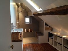 Uplifting Attic Remodel Loft Ideas in 2020 Attic House, Attic Loft, Loft Room, Attic Library, Loft Playroom, Garage Attic, Attic Ladder, Attic Office, Gym Room