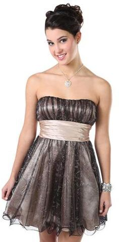 #Deb Shops                #Skirt                    #Strapless #Short #Homecoming #Dress #with #Glitter #Skirt #Self #Waist       Strapless Short Homecoming Dress with Glitter Skirt and Self Tie Waist                                  http://www.seapai.com/product.aspx?PID=1872609