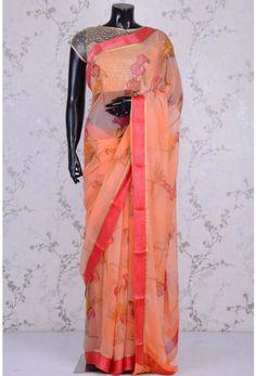 Blended Chiffon Zari-Peach-Printed-WK1101 Floral Print Sarees, Printed Sarees, Floral Prints, Chiffon, Peach, Sari, Fashion, Silk Fabric, Saree