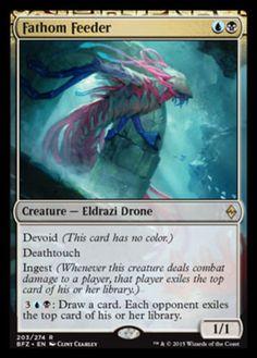 Fathom Feeder foil mtg Magic the Gathering Battle for Zendikar rare Eldrazi drone creature card devoid ingest