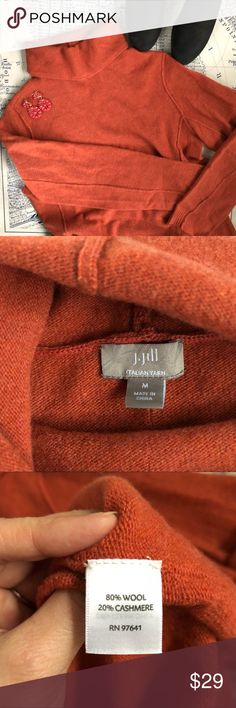 "J. Jill Wool and Cashmere Turtleneck Sweater J. Jill Wool and Cashmere Italian Yarn Turtleneck Sweater. Beautiful burnt orange sweater with flattering piping detail down the sleeves and front sides. This sweater is luxurious and would look great with pants or a skirt. Long sleeves, fold over turtleneck style. Excellent condition. Armpit to armpit: 20"" Length: 28""  All measurements are approx. J. Jill Sweaters Cowl & Turtlenecks"