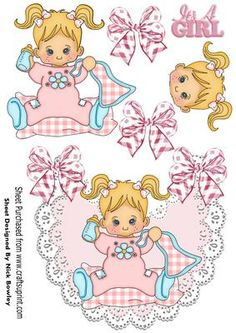 Baby girl with her blanket and bottle on lace bib on Craftsuprint - Add To…