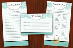 Printable / Digital Bridal Shower Games Set by silentlyscreaming Bridal Shower Games, Bridal Showers, Bachelor Party Games, Here Comes The Bride, Printable, Wedding Ideas, Digital, Unique Jewelry, Handmade Gifts