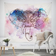 Elephant Tapestry, Bohemian wall tapestry, Hippie tapestry wall hanging, Ganesh wall tapestry, Watercolor elephant bohemian decor Tapestry