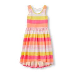 Girls Sleeveless Striped Cross-Back Hi-Low Dress - Pink - The Children's Place