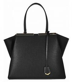 Fendi 3Jours Medium Textured-Leather Tote // Black bag
