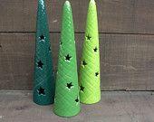 Set of Three Ceramic Christmas Tree Votive Candle Holders - Shades of Greens
