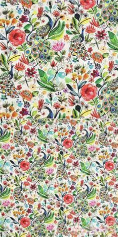 cotton fabric white with rainbow peacoks and colourful shades of red pink orange purple and green leaves, Material: 100% cotton, Fabric Type: smooth cotton fabric #Cotton #Animals #AnimalPrint #Flower #Leaf #Plants #OtherAnimals #Insects #USAFabrics