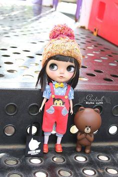 Girlish Astro Boy Bib Pants Set for Blythe doll by MissBlythe2012