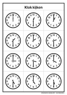 Klokkijken met Frokkie en Lola deel 2 zwart/witOefen het klokkijken met de werkbladen van Frokkie en Lola. Deze klokken kun je zelf inkleuren.