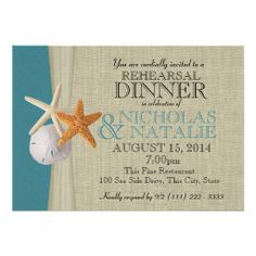 Ocean and Burlap Look Rehearsal Dinner Personalized Invitation