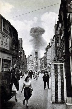 V-1 flying bomb lands in a street off Drury Lane, London 1944. The bombers of the Blitz came at night, but the drones struck randomly in daylight