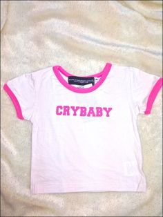 SEXY LIL CRYBABY! Contrast hemmed ringer tee ft. #OMIGHTY OG prints Cotton spandex blend Cropped V Stretchy