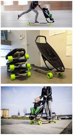 Auch mit Kind auf dem Longboard unterwegs. Coole Idee!