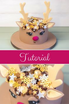 Rudolph the red nosed rendeir Tutorial / Instructions for a .- Rudolph the red nosed rendeir Tutorial / Anleitung für eine Weihnachtstorte / R… Rudolph the red nosed rendeir Tutorial / Instructions for a Christmas Cake / Reindeer Pie - Christmas Treats, Christmas Baking, Cupcake Recipes, Cupcake Cakes, Cupcake Ideas, Decors Pate A Sucre, Winter Torte, Reindeer Cakes, Cake Mix Cookies