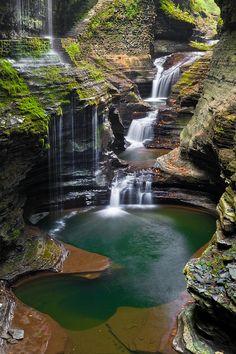✯ Rainbow Falls (left) rains down into Glen Creek at Watkins Glen State Park, New York.