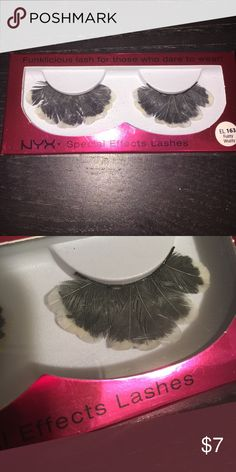 """NYX Special Effects Feather Lashes NYX Special Effects Feather Lashes - """"EL 163 Fuzzy Wuzzy"""" - Ready to wear, self adhesive lashes. Can be glued down instead. Unique avant-garde look. Grey feathers with white tipped details. NEW IN BOX NYX Makeup False Eyelashes"""