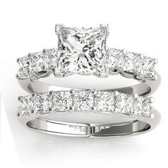 this white gold diamond princess-cut wedding band setting is breathtaking. Express your unending love for one other with this diamond princess-cut wedding band setting. Princess Cut Bridal Sets, Princess Cut Rings, Bridal Ring Sets, Princess Cut Diamonds, Bridal Rings, Princess Wedding, Vintage Princess, Bridal Jewellery, Jewellery Diy