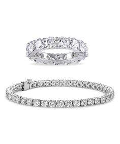 Love this Silvertone Tennis Bracelet & Eternity Ring With Swarovski® Crystals on #zulily! #zulilyfinds
