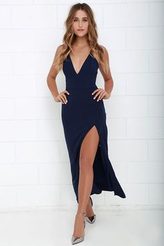 NBD Night Fever Navy Blue Maxi Dress at Lulus.com!